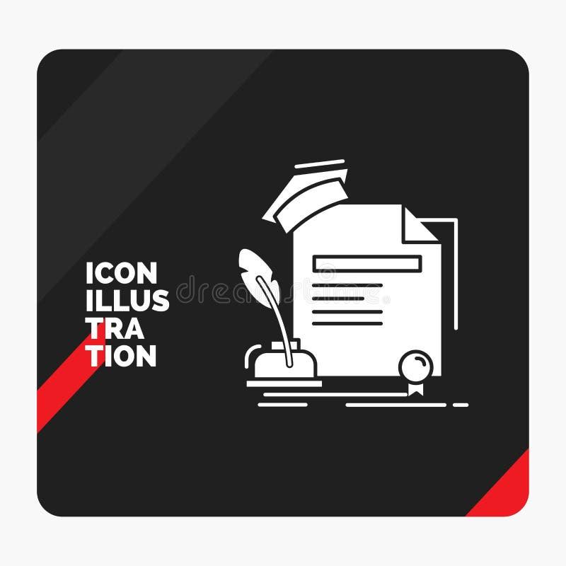 Czerwony i Czarny Kreatywnie prezentacji tło dla świadectwa, stopień, edukacja, nagroda, zgoda glifu ikona royalty ilustracja