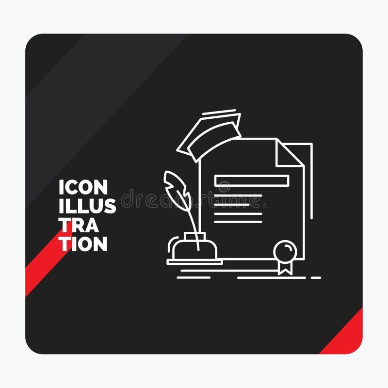 Czerwony i Czarny Kreatywnie prezentacji tło dla świadectwa, stopień, edukacja, nagroda, zgody Kreskowa ikona ilustracji