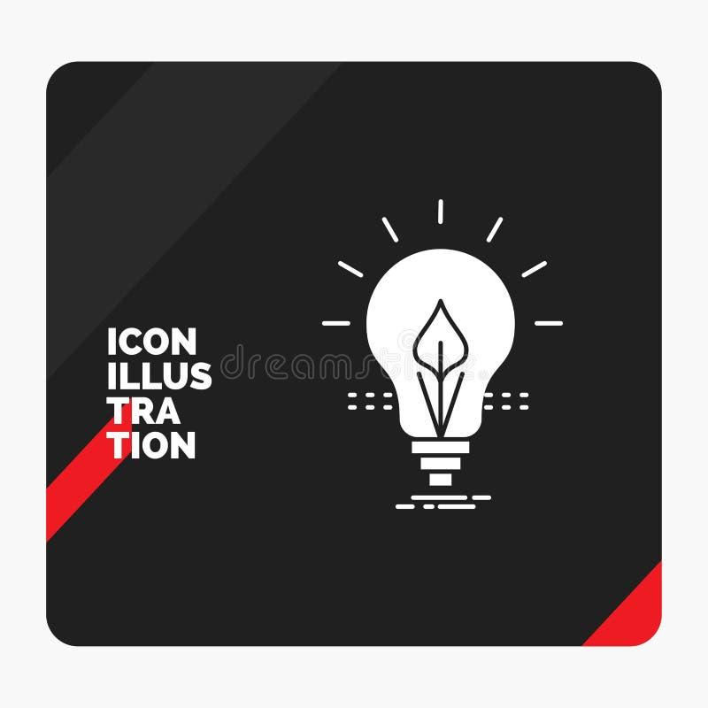 Czerwony i Czarny Kreatywnie prezentacji tło dla żarówki, pomysł, elektryczność, energia, lekka glif ikona royalty ilustracja