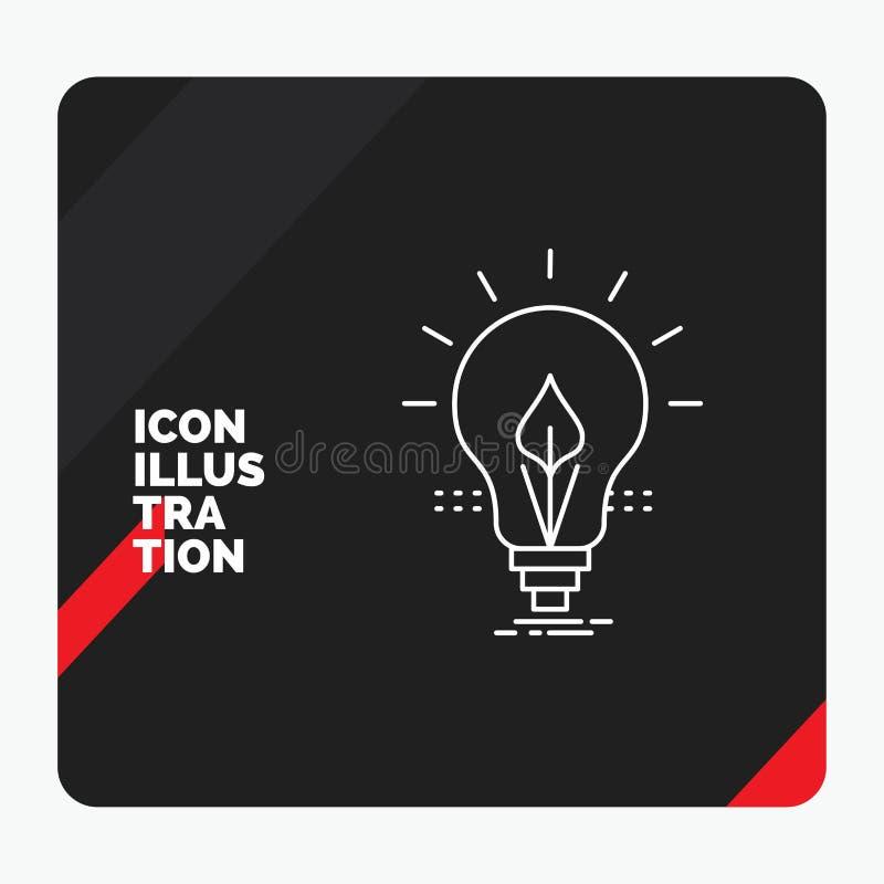 Czerwony i Czarny Kreatywnie prezentacji tło dla żarówki, pomysł, elektryczność, energia, lekkiej linii ikona ilustracji