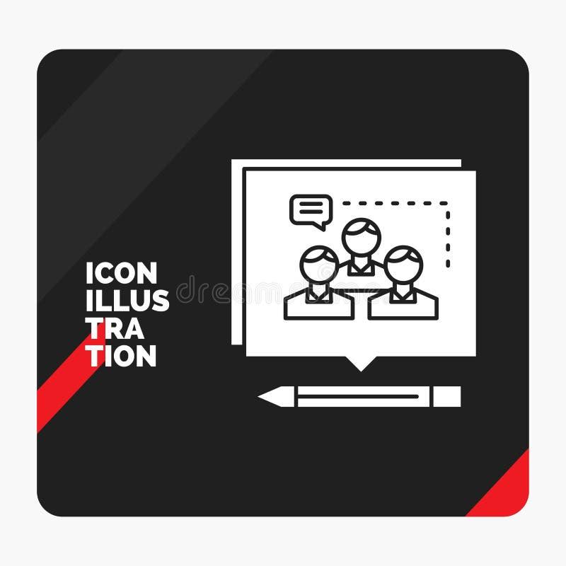 Czerwony i Czarny Kreatywnie prezentacji tło dla analizy, argument, biznes, przekonuje, debatuje, glif ikonę royalty ilustracja