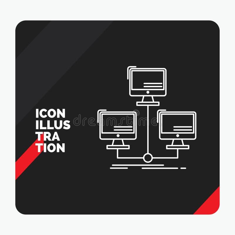 Czerwony i Czarny Kreatywnie prezentacji tło dla baza danych, zakłócający, związek, sieć, komputerowej linii ikona ilustracja wektor