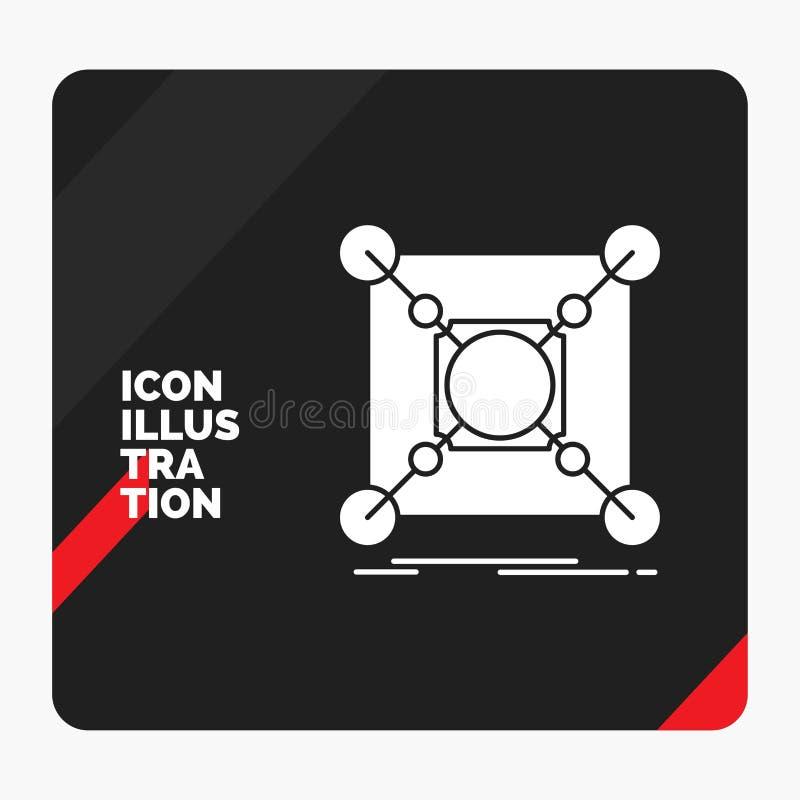Czerwony i Czarny Kreatywnie prezentacji tło dla bazy, centrum, związek, dane, centrum glifu ikona royalty ilustracja
