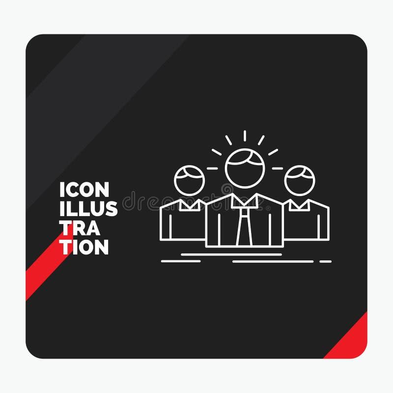 Czerwony i Czarny Kreatywnie prezentacji tło dla biznesu, kariera, pracownik, przedsiębiorca, lider linii ikona ilustracja wektor