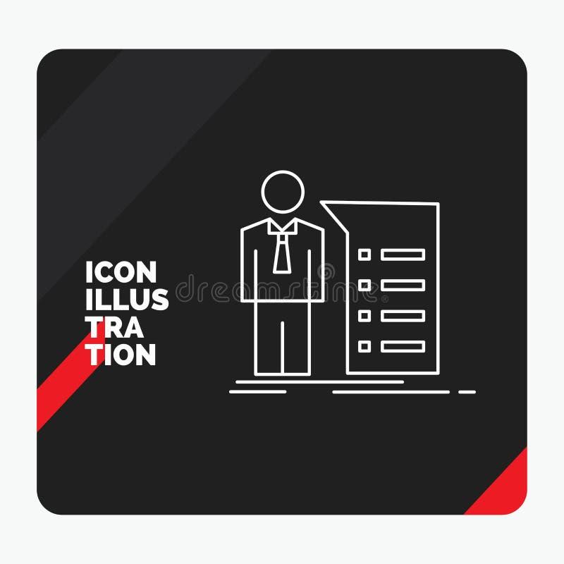 Czerwony i Czarny Kreatywnie prezentacji tło dla biznesu, wyjaśnienie, wykres, spotkanie, prezentacji Kreskowa ikona ilustracja wektor