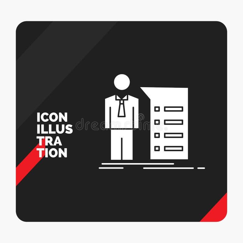 Czerwony i Czarny Kreatywnie prezentacji tło dla biznesu, wyjaśnienie, wykres, spotkanie, prezentacja glifu ikona ilustracji