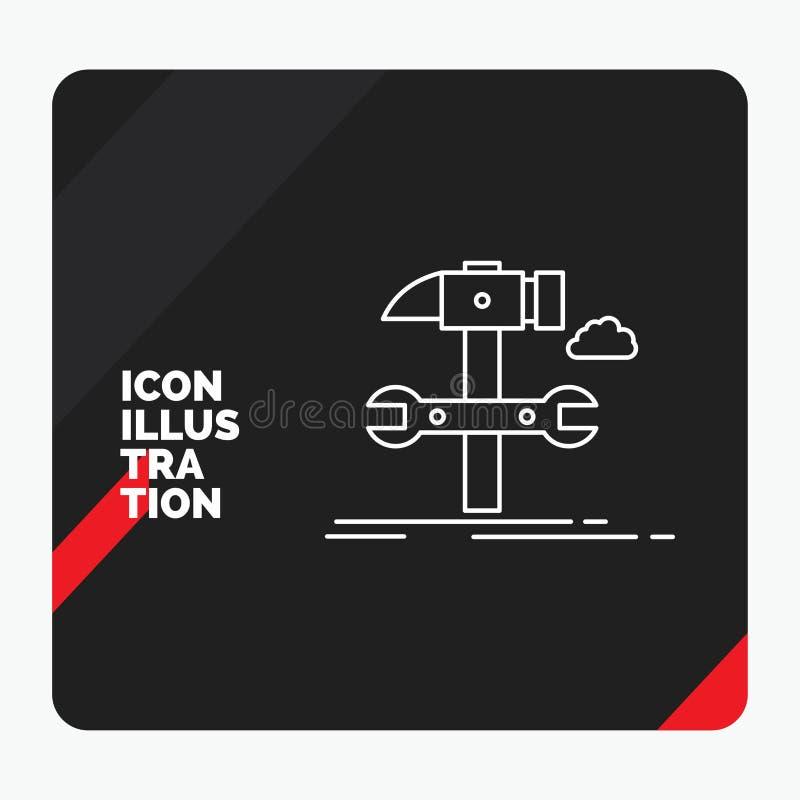 Czerwony i Czarny Kreatywnie prezentacji tło dla budowy, inżynieria, młot, naprawa, usługowej linii ikona ilustracja wektor