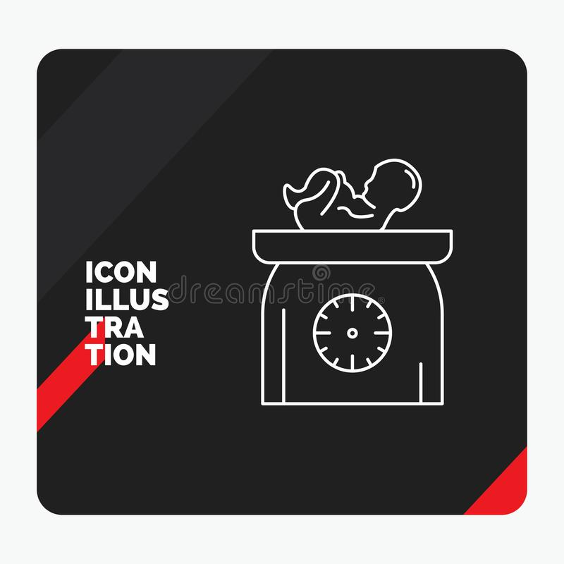Czerwony i Czarny Kreatywnie prezentacji tło dla ciężaru, dziecko, Nowonarodzony, skale, dzieciak Kreskowa ikona ilustracja wektor