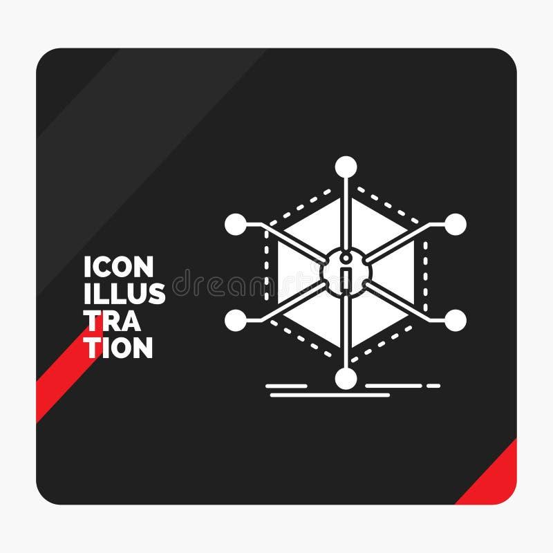 Czerwony i Czarny Kreatywnie prezentacji tło dla dane, pomoc, informacja, informacja, zasoby glifu ikona ilustracja wektor