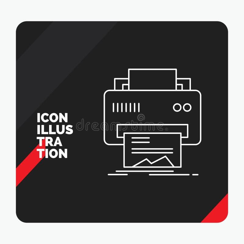 Czerwony i Czarny Kreatywnie prezentacji tło dla Digital, drukarka, druk, narzędzia, papier Kreskowa ikona ilustracji