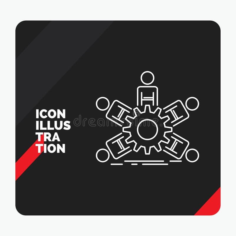 Czerwony i Czarny Kreatywnie prezentacji tło dla drużyny, grupa, przywódctwo, biznes, pracy zespołowej Kreskowa ikona ilustracja wektor