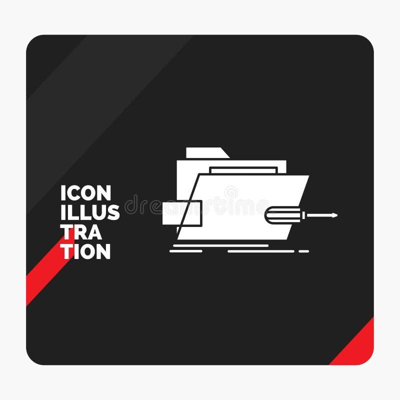 Czerwony i Czarny Kreatywnie prezentacji tło dla falcówki, naprawa, skrewdriver, technika, techniczna glif ikona ilustracji