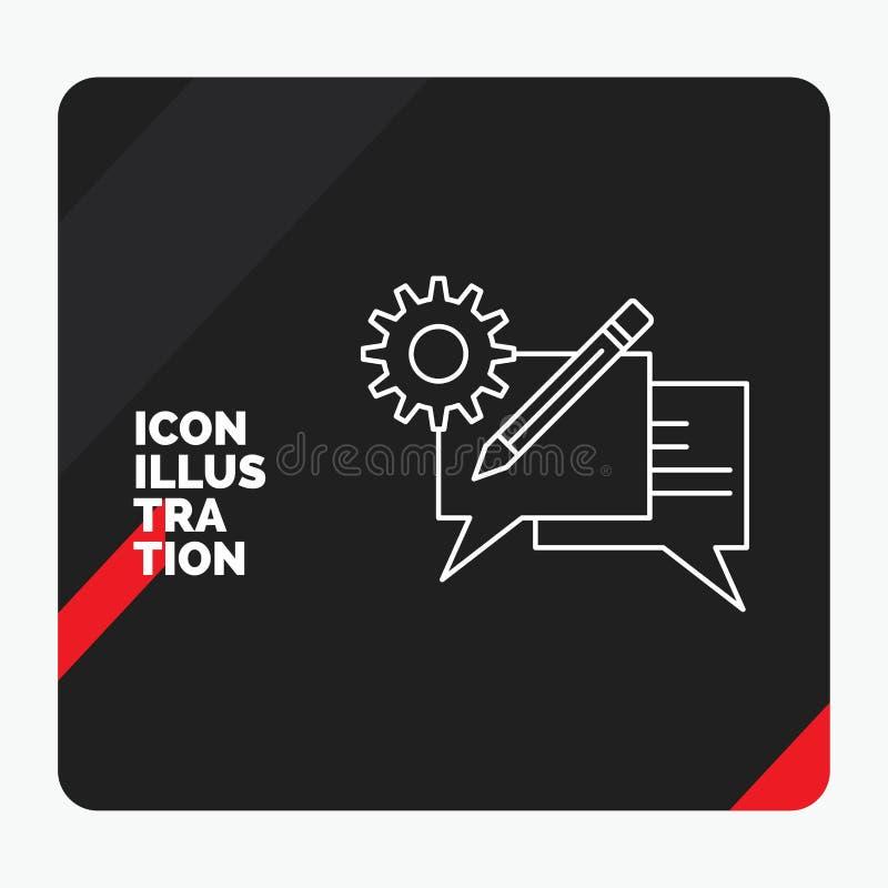 Czerwony i Czarny Kreatywnie prezentacji tło dla gadki, komunikacja, dyskusja, położenie, wiadomości linii ikona royalty ilustracja