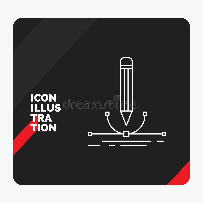 Czerwony i Czarny Kreatywnie prezentacji tło dla ilustracji, projekt, pióro, grafika, remis Kreskowa ikona royalty ilustracja