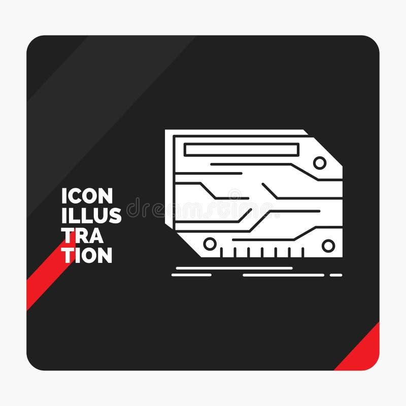 Czerwony i Czarny Kreatywnie prezentacji tło dla karty, składnik, zwyczaj, elektroniczny, pamięć glifu ikona ilustracja wektor
