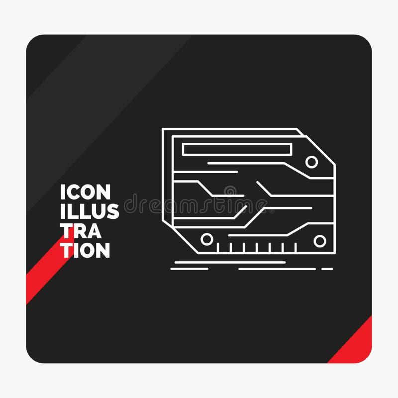 Czerwony i Czarny Kreatywnie prezentacji tło dla karty, składnik, zwyczaj, elektroniczny, pamięci Kreskowa ikona ilustracja wektor