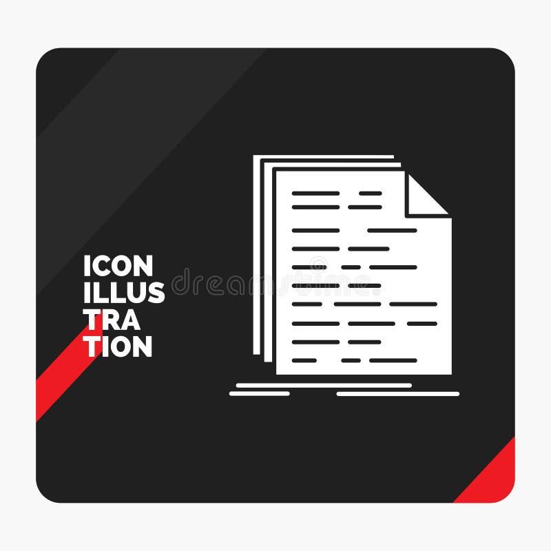 Czerwony i Czarny Kreatywnie prezentacji tło dla kodu, cyfrowanie, doc, programowanie, pismo glifu ikona royalty ilustracja