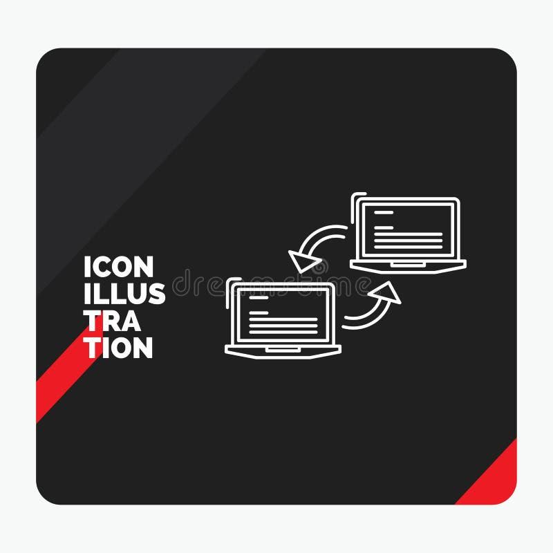 Czerwony i Czarny Kreatywnie prezentacji tło dla komputeru, związek, połączenie, sieć, synchronizacji Kreskowa ikona ilustracji