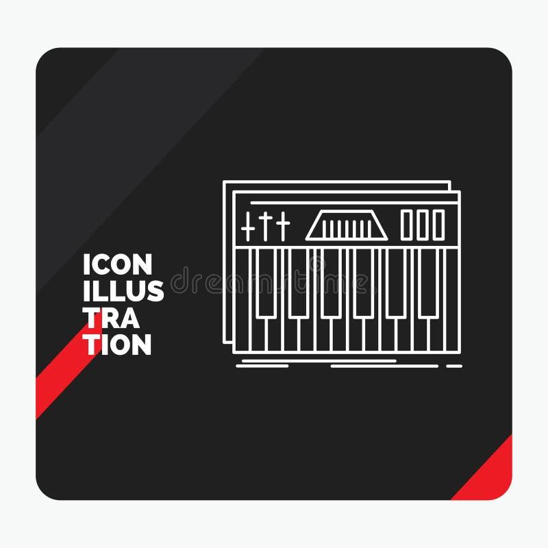 Czerwony i Czarny Kreatywnie prezentacji tło dla kontrolera, klawiatura, klucze, Midi, dźwięk Kreskowa ikona ilustracji