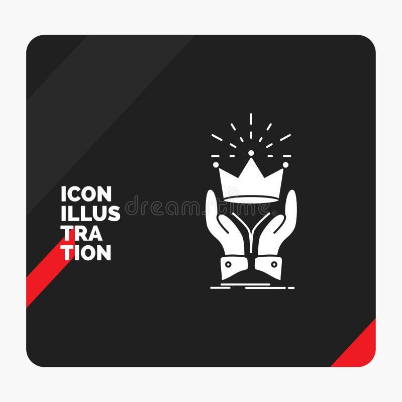 Czerwony i Czarny Kreatywnie prezentacji tło dla korony, honor, królewiątko, rynek, królewska glif ikona ilustracja wektor