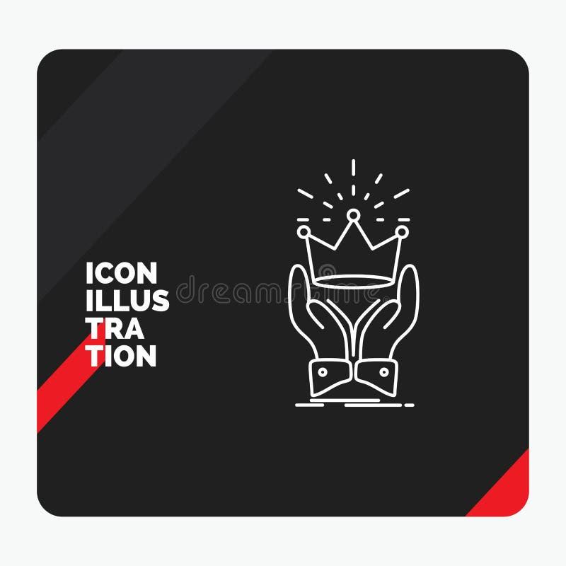 Czerwony i Czarny Kreatywnie prezentacji tło dla korony, honor, królewiątko, rynek, królewskiej linii ikona royalty ilustracja