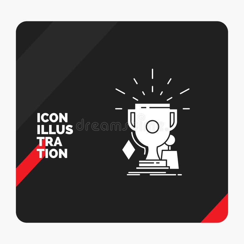 Czerwony i Czarny Kreatywnie prezentacji tło dla nagród, gra, sport, trofea, zwycięzcy glifu ikona ilustracja wektor