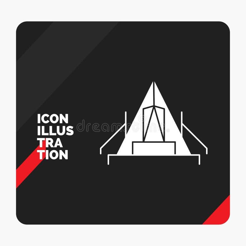 Czerwony i Czarny Kreatywnie prezentacji tło dla namiotu, camping, obóz, campsite, plenerowa glif ikona royalty ilustracja