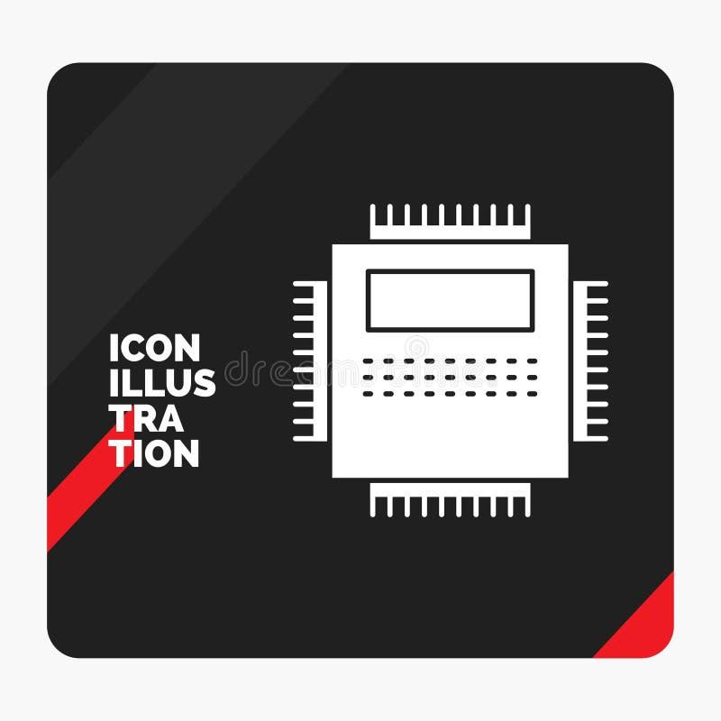 Czerwony i Czarny Kreatywnie prezentacji tło dla procesoru, narzędzia, komputer, pecet, technologia glifu ikona ilustracja wektor