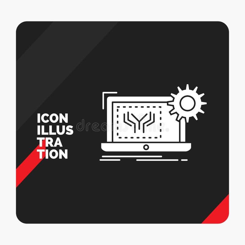 Czerwony i Czarny Kreatywnie prezentacji tło dla projekta, obwód, elektronika, inżynieria, narzędzia glifu ikona ilustracja wektor