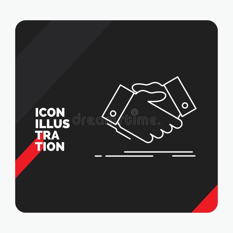 Czerwony i Czarny Kreatywnie prezentacji tło dla uścisku dłoni, ręki potrząśnięcie, trząść rękę, zgoda, biznesowej linii ikona ilustracja wektor
