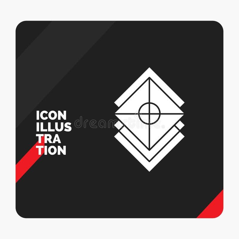Czerwony i Czarny Kreatywnie prezentacji tło dla Układam, projekt, warstwy, sterta, warstwa glifu ikona ilustracji