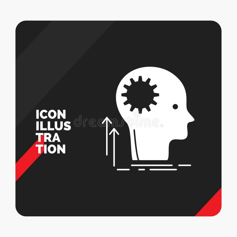Czerwony i Czarny Kreatywnie prezentacji tło dla umysłu, Kreatywnie, główkowanie, pomysł, brainstorming glifu ikona ilustracji