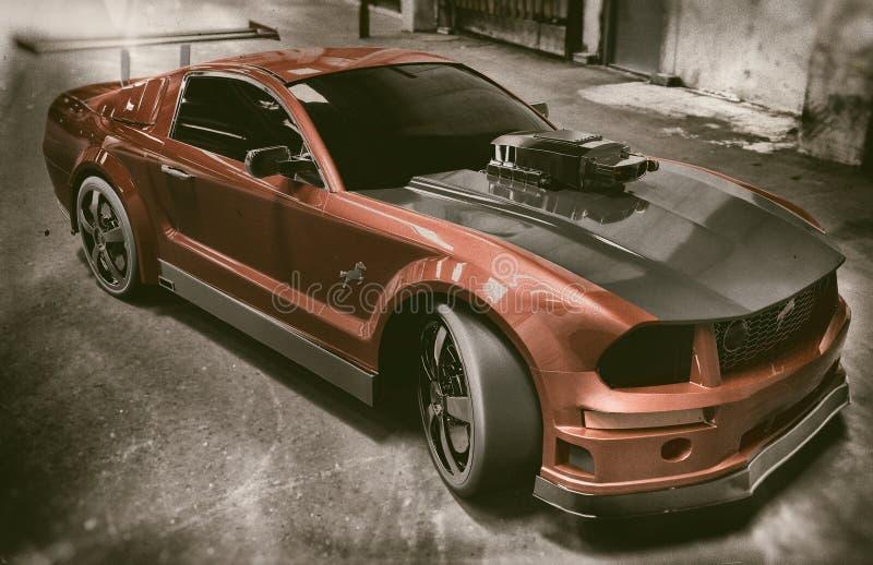 Czerwony I Czarny mustangów sportów samochód ilustracja wektor