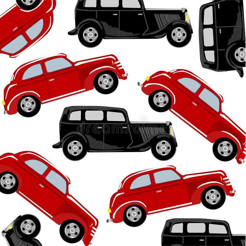 Czerwony i czarny samochód ilustracji