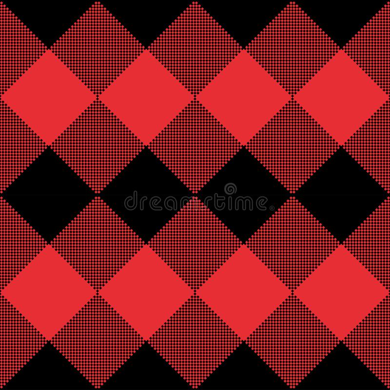 Czerwony i Czarny tartan szkockiej kraty bezszwowy abstrakcjonistyczny w kratkę deseniowy tło ilustracja wektor