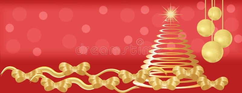 Czerwony i złocisty boże narodzenie panoramy tło royalty ilustracja