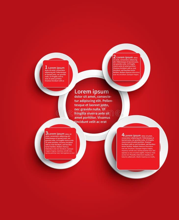 Czerwony infographic glansowany tło szablonu projekt w okręgu shap ilustracja wektor