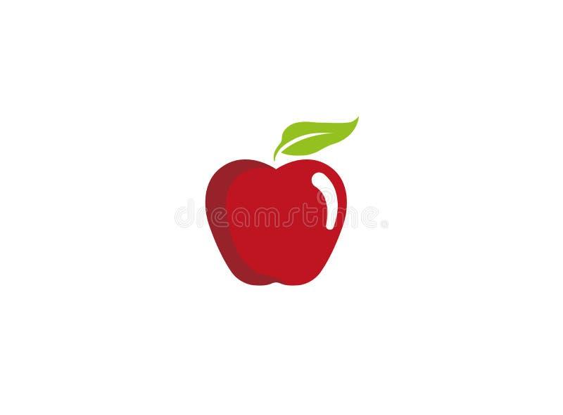 Czerwony jabłko z zielonym liściem dla logo projekta ilustracji ilustracji