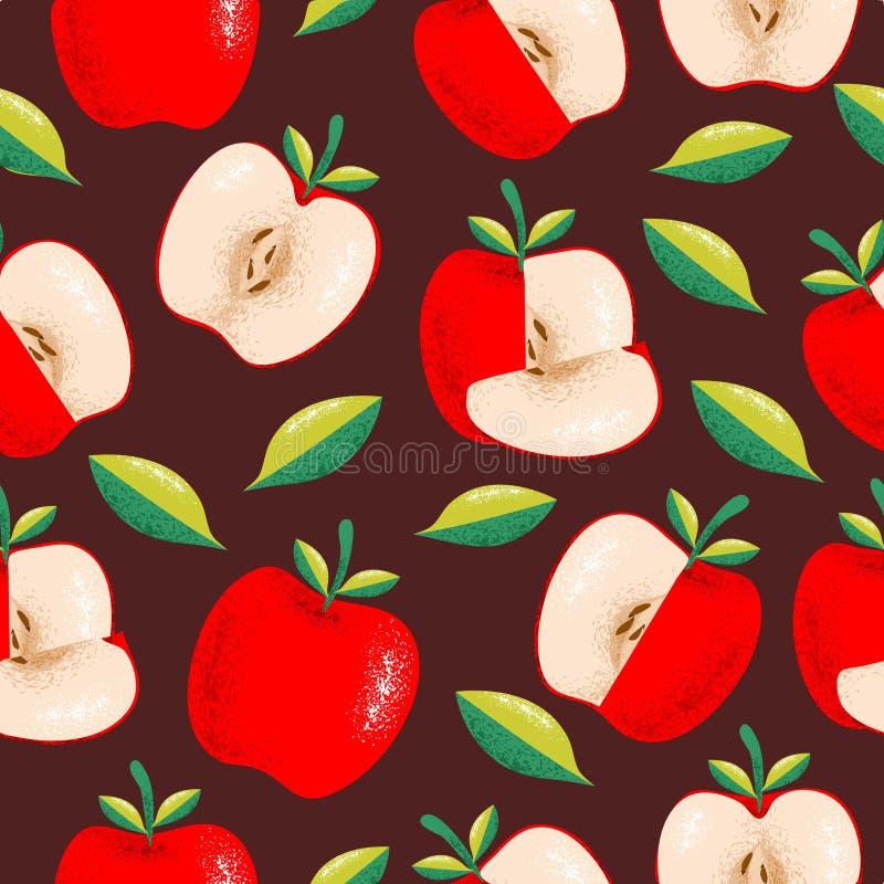 Czerwony jabłczany bezszwowy wzór z ręka rysującą stylową ilustracją ilustracji