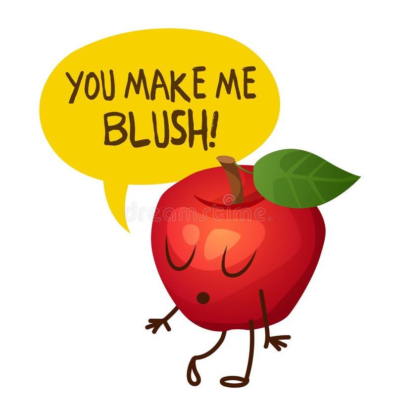 Czerwony jabłczany charakter mówi Ty robi ja rumienić się kreskówki dowódcy pistolet żołnierza jego ilustracyjny stopwatch ilustracja wektor