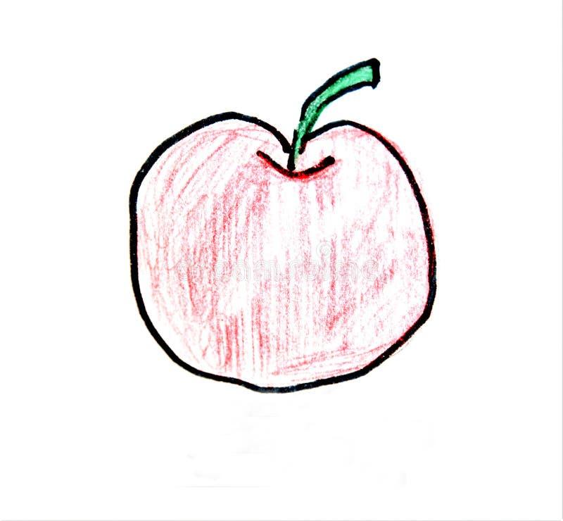Czerwony jabłczany rysunek fotografia royalty free