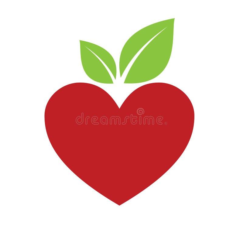 Czerwony jabłczany serce ilustracja wektor