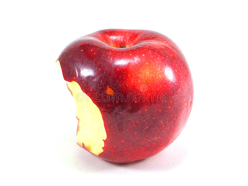 Czerwony jabłko kąsek na białym tle obraz stock