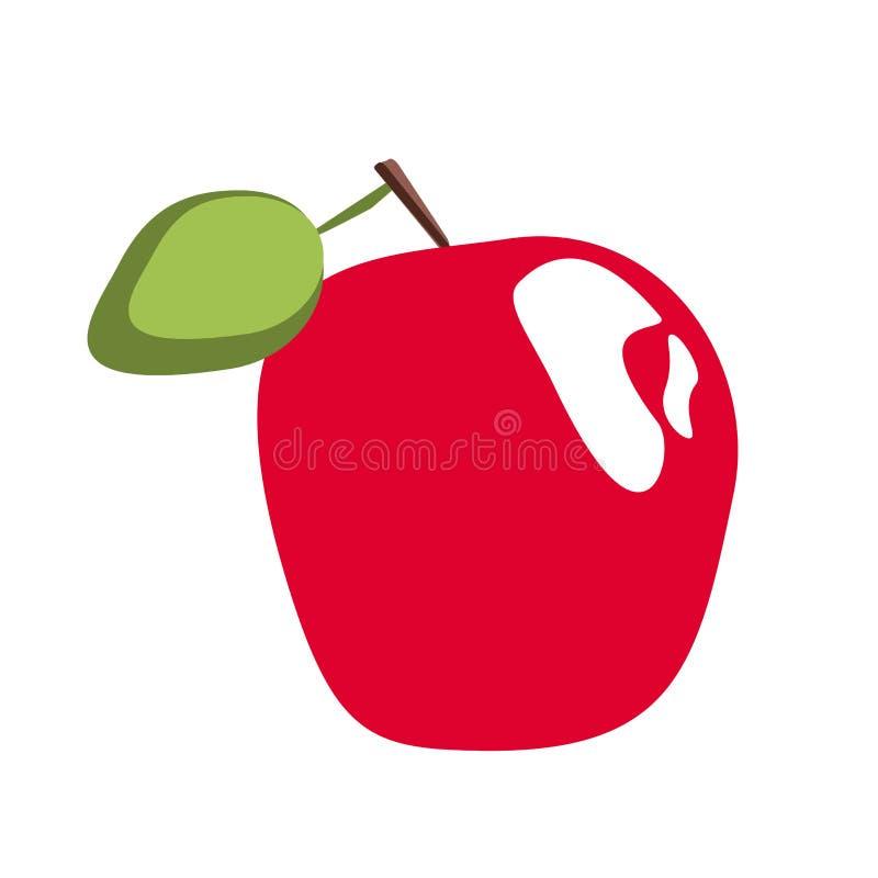 Czerwony jabłko na białym tle ilustracja wektor