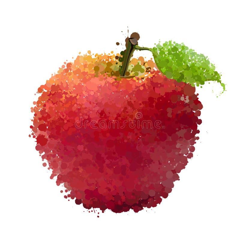 Czerwony jabłko z liściem kleksy  ilustracji