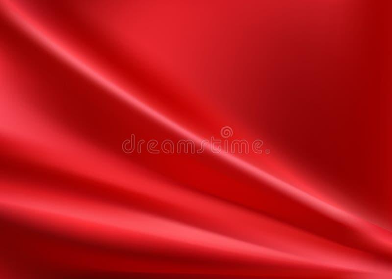 Czerwony jedwabniczy tło z niektóre miękkimi fałdami royalty ilustracja