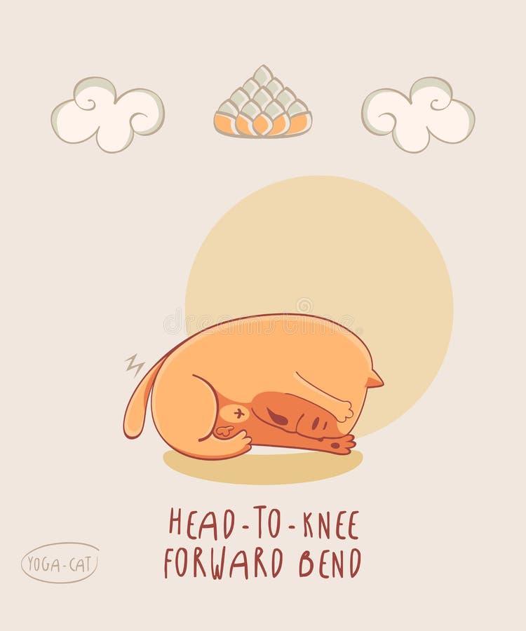 Czerwony joga kot w głowie kolano Posyła chył ilustracja wektor
