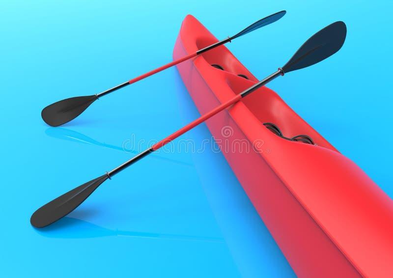 Czerwony kajak nad błękitnym odbijającym tłem ilustracja wektor