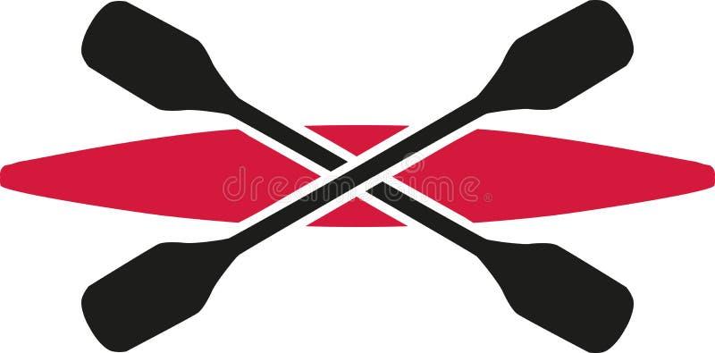 Czerwony kajak z krzyżującą paddles ikoną royalty ilustracja