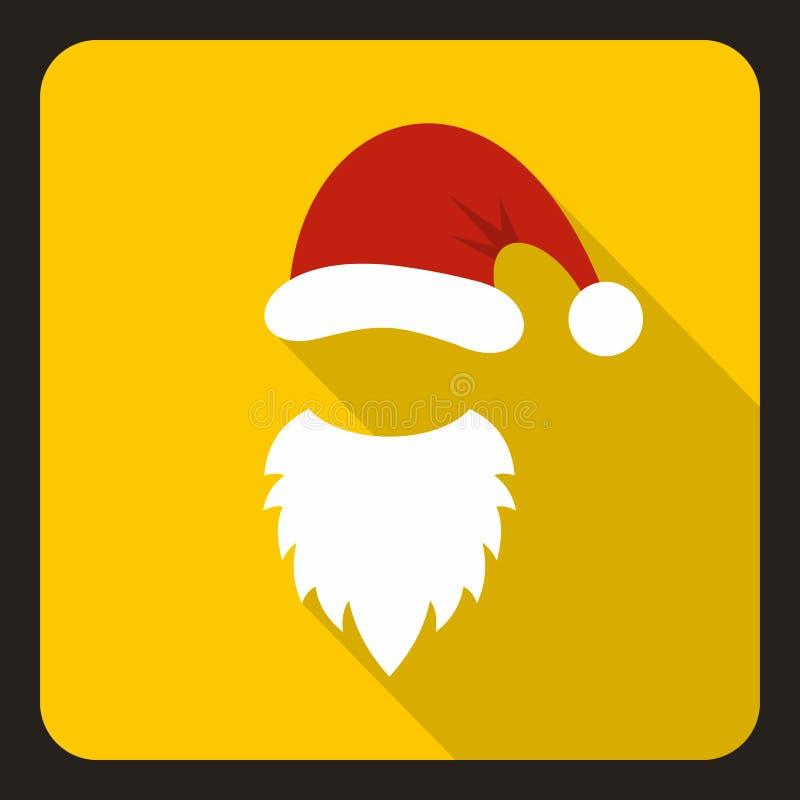 Czerwony kapelusz i biała broda Święty Mikołaj ikona royalty ilustracja